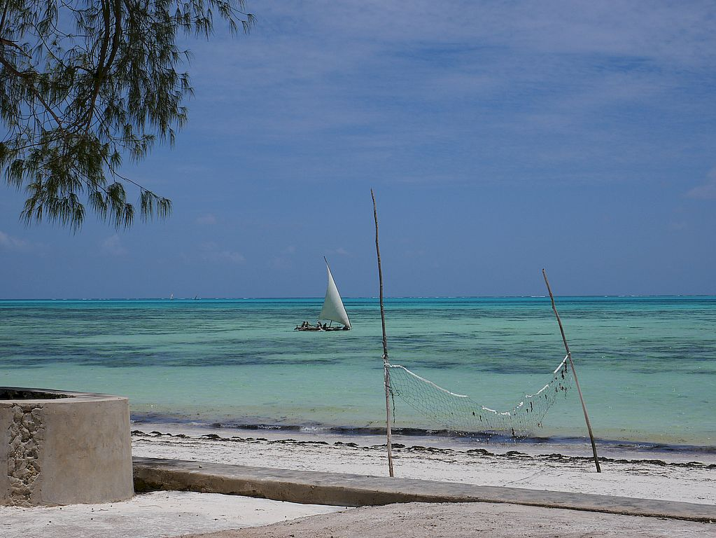 Zanzibar Beach with dhow